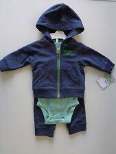 Lot of 3 Baby Boy Carter's 3 piece set Hoodie romper pants Boys clothes size 3 M