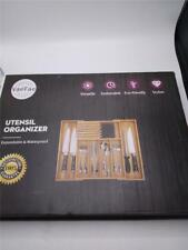Bamboo Silverware Drawer Organizer Kitchen, Expandable Utensil Holder and Cutler