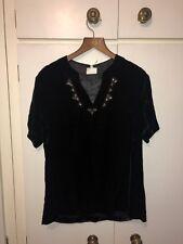 East John Lewis Black Velvet Top Tshirt Embroided Embellished Small 8-10 UK