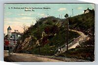 Easton PA, LV Station & Step To Lachenhour, Vintage Pennsylvania c1911 Postcard