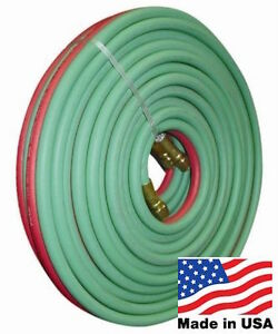 """25' X 1/4"""" TWIN TORCH HOSE - MADE IN THE USA By PARKER OXYGEN ACETYLENE WELDING"""