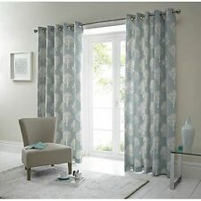 Woodland Trees Duck Egg Eyelet Curtains 46x72