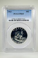 PR65 1963 PCGS GRADED FRANKLIN 90% SILVER HALF DOLLAR 50C PROOF COIN LIBERTY US