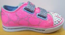 Toddler Girl Skechers Heartsy Glam Pink Blue Twinkle Toes Light Up Sneakers Sz 8