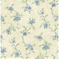 Wallpaper Designer Elizabeth Blue Floral Green Vine Trail on Cream Faux