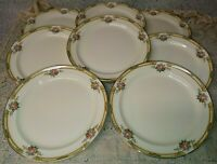 "8 Taylor Smith Taylor TST11 9"" Luncheon Plates Floral Bouquets Yellow Band Green"