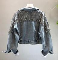 motor Womens punk rivets denim jacket rock BF denim jeans jacket coat outwear