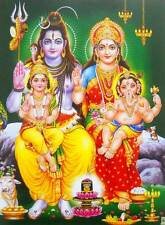 Lord Shiva Family Hindu God poster-reprint on paper (20X16 inches) #337