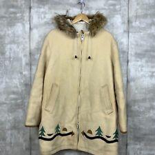 Inuit Hudson's Bay Women Wool Fur Trim Vintage Parka Coat Size Medium Beige