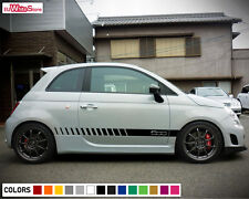 Decal Sticker Vinyl Side Stripes for Fiat 500 Abarth Racing Rocker Light Chrome