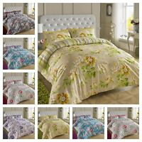 200 Thread Count Floral Reversible Duvet Quilt Cover Set All Sizes Double King