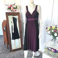 Liz Jordan black purple panel  v neck  dress size 12 womens BNWT