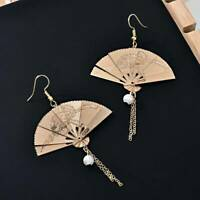 Charm Chinese Expandable Gold Fan Drop Dangle Pearl Earrings Party Jewelry Gift