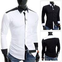 Cipo & Baxx Designer Men's Elegant Shirt White Black Cotton Slim Contrast Cuffs