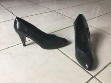 Escarpins CHARLES JOURDAN pointure 38 (7) cuir noir/ bleu tres bon etat
