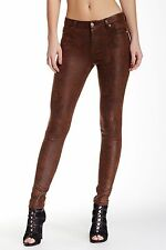 NWT 7 FOR ALL MANKIND Sz27 THE SEAMED SKINNY STRETCH JEANS CHOCOLATE MATTE SNAKE