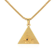 """Gold Plated Egyptian Eye of Horus Pyramid Amulet Pendant Chain Necklace 28"""""""