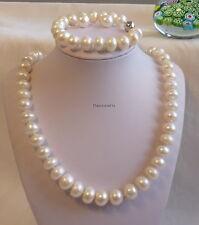 Genuine12-13mm oblate freshwater pearl necklace+bracelet+earrings;L55cm & 19cm