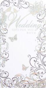 Wedding Gift Money Wallet With Envelope Present Card Voucher Cash Silver Foil