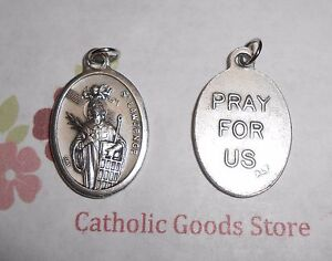 St. Saint. Lawrence - Pray for Us - Italian Silver tone Oxidized 1 inch Medal
