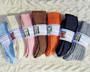 90% ALPACA Wool Bed Socks Maximum Comfort Pink Cream Blue Grey Thermal Warm