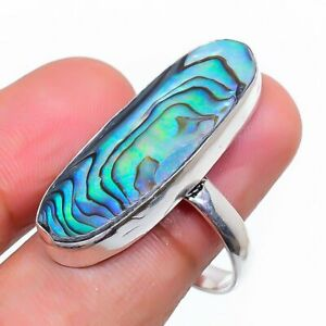 Abalone Shell Gemstone Handmade 925 Sterling Silver Jewelry Ring Size 8 M166