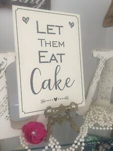 Let them eat cake sign A4 Vintage, cream or white. Wedding / Party bride groom
