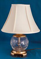 "Crystal Glass Portable Boudoir Table Lamp w/Asian Brass Base & Silk 12"""