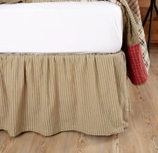 PRAIRIE WINDS Green Ticking Stripe Queen Bed Skirt Dust Ruffle Farmhouse VHC