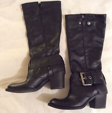 LADIES KENNETH COLE REACTION BLACK LEATHER BIKER STYLE BOOTS SIZE 3 UK New