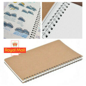 100pages Bullet Journal Notebook Hardcover Cardboard Grid Dotted Spiral Diar W