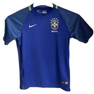 Brasil Football Shirt Kids S Away Blue Nike 2016 Drifit Brazil