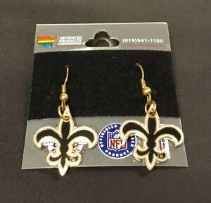 New Vintage New Orleans Saints Logo NFL Pair of Earrings Louisiana Gold Black