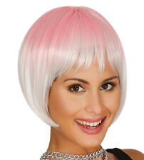 Pink Ombre Bob Wig Straight Synthetic With Fringe Cosplay Hair UK High Quality