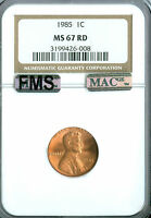 1985 LINCOLN CENT NGC MAC MS67 RED FMS PQ *