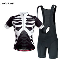 Mens Cycling Jersey Shorts Sets Short Sleeve Shirt Bib Shorts Gel Padded Bicycle