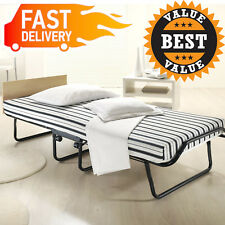 Folding Single Guest Bed Airflow Fibre Mattress Headboard Easy Storage Fold Up