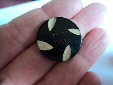 ART DECO CELLULOID OVERLAY  2 TONE BUTTON  BLACK / WHITE 1 INCH