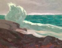 California West Coast Seascape Ocean Modern Waves Art Oil Painting Signed Marine