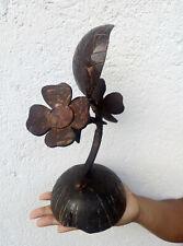 Handmade Coconut Shell Flower Vase Brown Carved Home Decor Gift item Sri Lanka