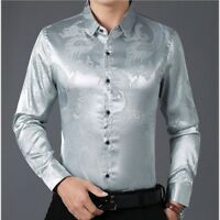 Men Faux Silk Satin Shirts Dragon Business Formal Long Sleeve Blouse Loose Tops