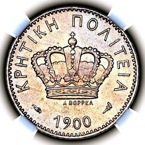 1900 A Prince George Crete Greece Paris Ten Lepta 10L KM 4.1 NGC MS63