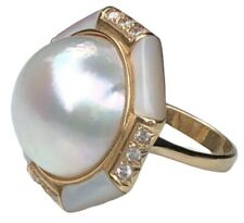 Unique 14K Yellow Gold Diamond Mabe Pearl MOP HUGE Hexagon Retro Cocktail Ring