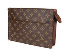 LOUIS VUITTON Homme Monogram Canvas Leather Clutch Bag LP3449