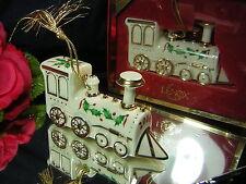 Lenox Christmas Ornament Porcelain Train Year 2000 Gold Trim $70 Value - NIB