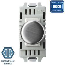 BG Nexus Brushed Steel Single Dimmer Module LED 2 Way 400W Push Dimmer GBSD400