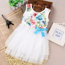Girls Kids Flower Princess Pageant Dress Party Wedding Bridesmaid Tutu Dress