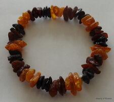Stretch  multicolor  rainbow raw unpolished     Baltic Amber Bracelet  #2 raw
