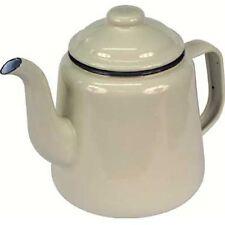 FALCON CREAM ENAMEL TEA POT WITH HANDLE & LID TEAPOT - CAMPING