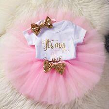 3Pcs Outfit Baby Girl Newborn 1st Birthday Romper Skirt Headband 12M - Pink